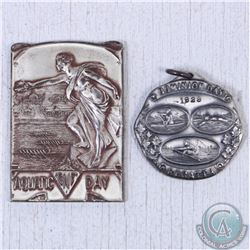 1926 Canadian National Exhibition Aquatic Day 140 lbs Eight Sterling Silver Medal & 1929 Dominion Da