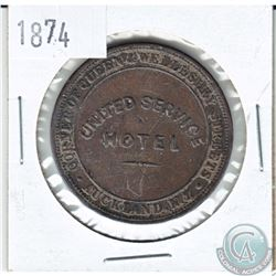 Scarce! New Zealand 1874 Penny Token United Service Hotel Auckland. 34 mm in diameter.