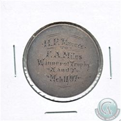 Love Token Engraved on a Canadian Silver 50-cent Piece. 30 mm in diameter