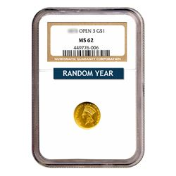 $1 Gold Type 3 MS62