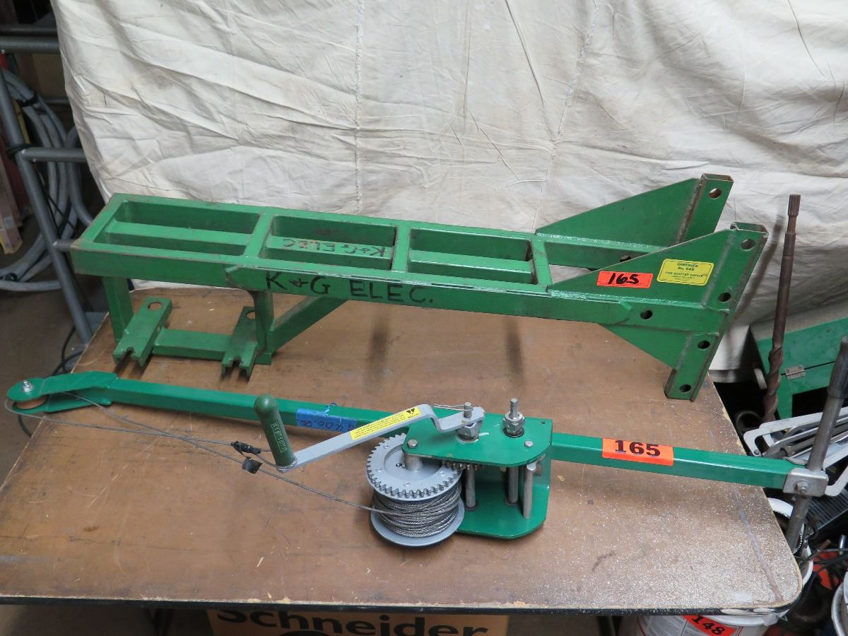 Greenlee 446 Hand Crank Wire Puller and Greenlee 649 Pipe Adapter Frame