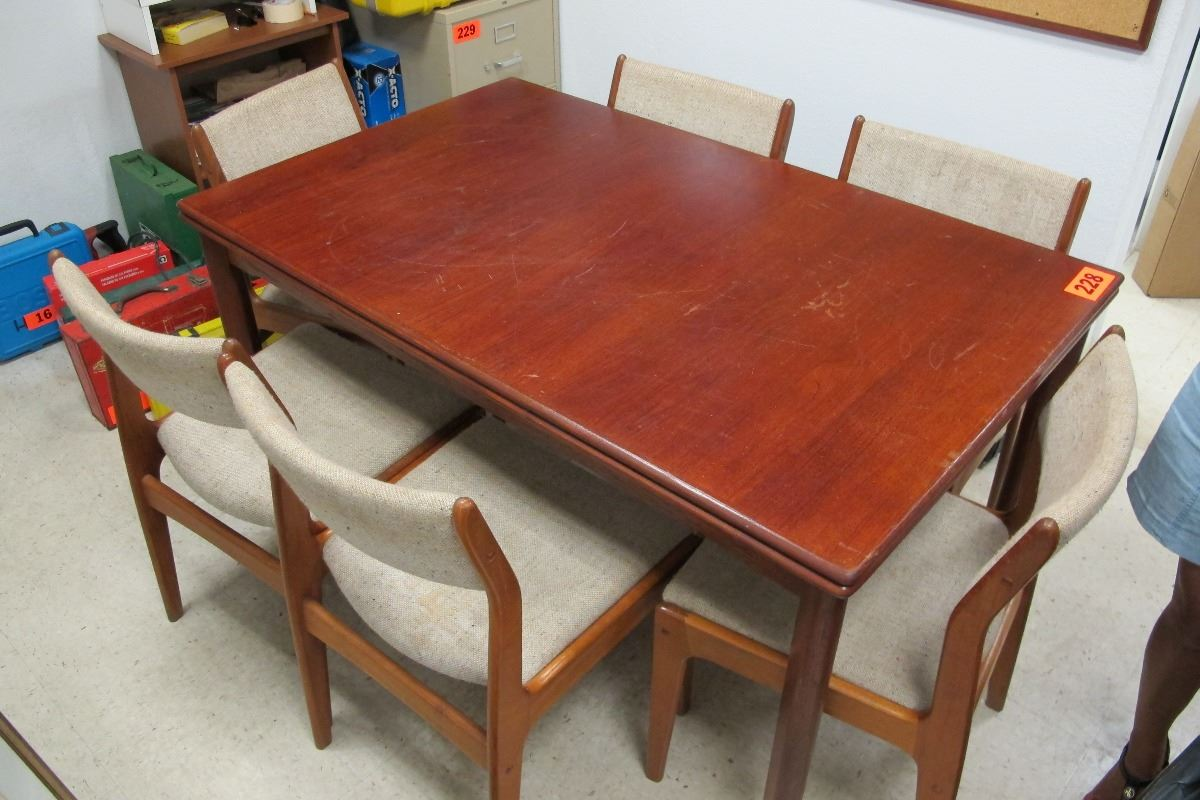Rectangular wooden dining table 57 x35 w 6 wood framed upholstered chairs oahu auctions - Rectangular dining table for 6 ...