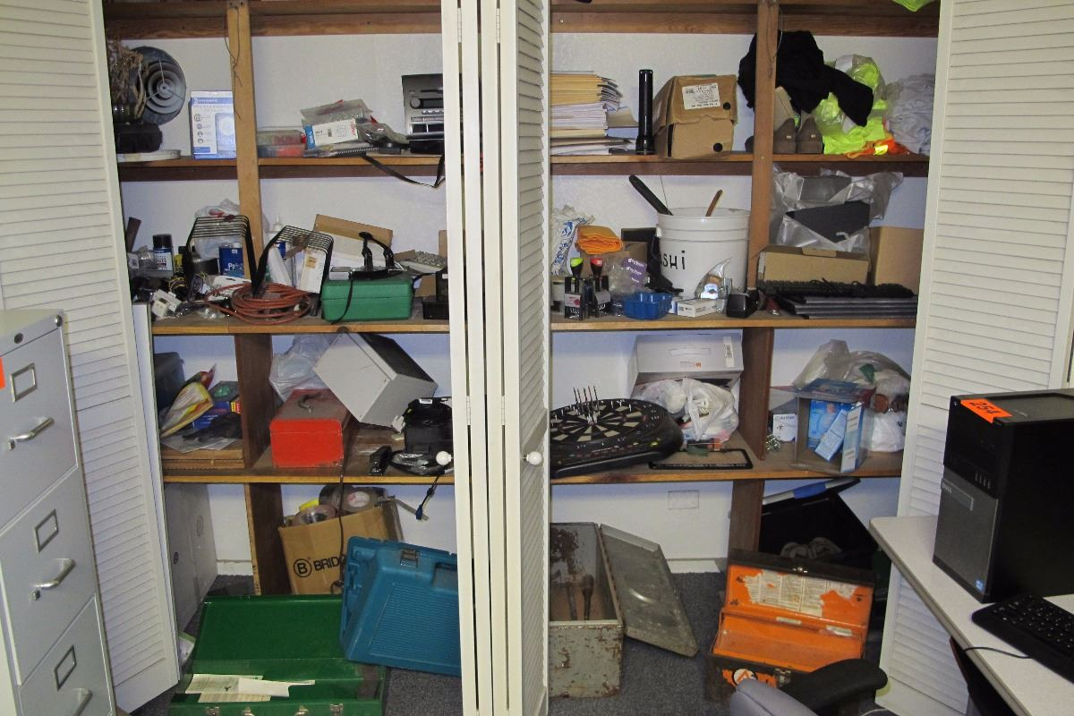 Image 1 : Closet Shelving Contents: Tools, Extension Cord, Tool Boxes, Work  ...