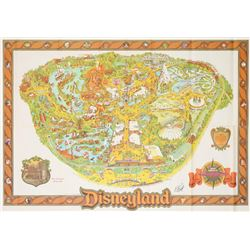 1982 Disneyland Map Signed by Bob Gurr.