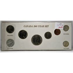 1968 Canada Year Set - With Silver & Copper-Nickle 25-Cent & 10-Cent Coins