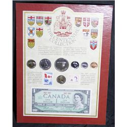 The Canadian Centennial Collection - 7 Coins, 2 Stamps 1 Note - Boarded, Not Framed