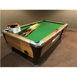 DYNAMO COIN OP POOL TABLE WITH CUES AND ACCESSORIES