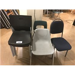 LOT OF STACKING CHAIRS AND TELEVISION WITH CEILING MOUNT