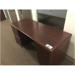 FURNITURE LOT WITH 3 CHERRY CREDENZA / DESKS AND APPROX. 23 BOOKSHELVES (LOCATED ARROUND THE CORNER