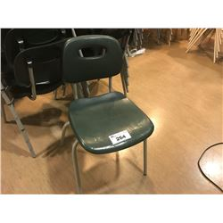 LOT OF 10 GREEN STACKING CHAIRS