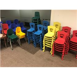 CONTENTS OF KIDS' CENTER INC. 110 COLORFULL PLASTIC KIDS' STACKING CHAIRS AND 26 ADJUSTABLE HEIGHT