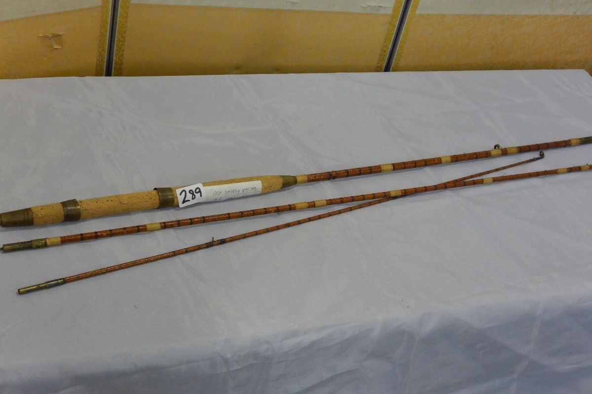 Antique 9 3pc fishing rod nice old fittings big valley for Nice fishing rods