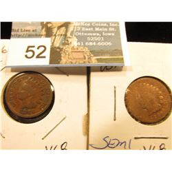 (2) 1886 Indian Head Cent Feather between I and C    VG-8