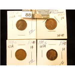 (4) 1918 S Lincoln Cent XF-40