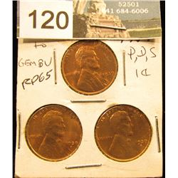 1939 P D S Lincoln Cent Set of 3 coins RD-65