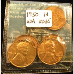 (5) 1950 Lincoln Cent MS-65