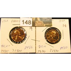 (2) 1960 Large Date Lincoln Cent PF-66