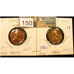 (2) 1961 Lincoln Cent PF-66