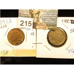 (2) 1913 P Buffalo Nickel Var 2. FIVE CENTS in Recess. VG-8, ONE IS RATHER TONED.