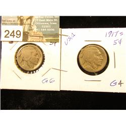 (2) 1917 S Buffalo Nickels Good