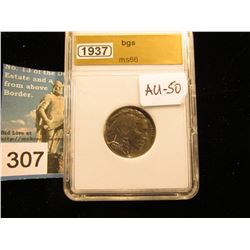 1937 P Buffalo Nickel  BGS MS-66 downgraded to AU 50