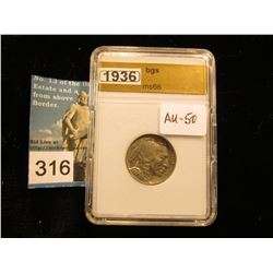 1936 P Buffalo Nickel  BGS MS-66 downgraded to AU 50