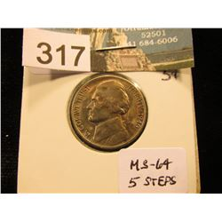 1940 S Jefferson Nickel. MS-64 5 Steps