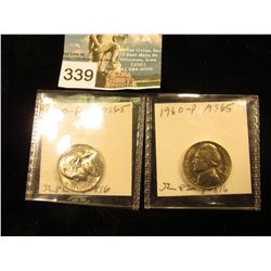 (2) 1960 Jefferson Nickel. MS-65