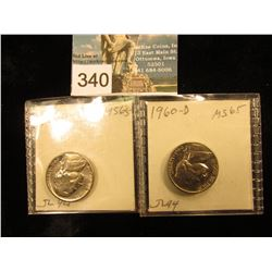 (2) 1960 D Jefferson Nickel. MS-65