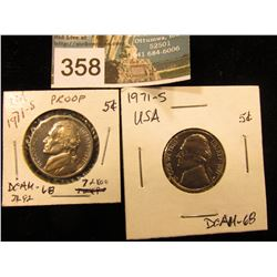 (2) 1971 S Jefferson Nickel. DCAM-68