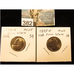 (2) 1995 D Jefferson Nickel. FS-65