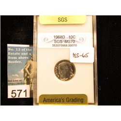 1968 D Roosevelt Dime. SGS MS-65 Downgraded from MS-70