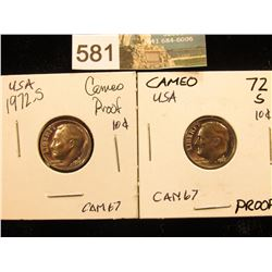 (2) 1972 S Roosevelt Dime. CAM Proof-67