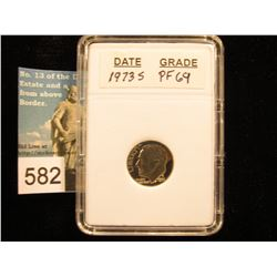 "1973 S Roosevelt Dime In 2"" x 3"" plastic case.    PF-69"