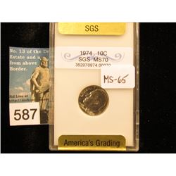 1974 P Roosevelt Dime Downgraded from SGS MS-70 to MS-65