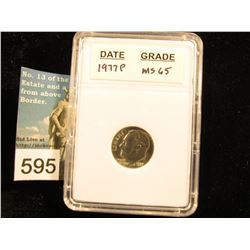 "1977 P Roosevelt Dime In 2"" x 3"" plastic case  MS-65"