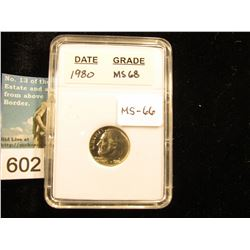 "1980 P Roosevelt Dime In 2"" x 3"" plastic case. - Downgraded from MS-68.    MS-66"