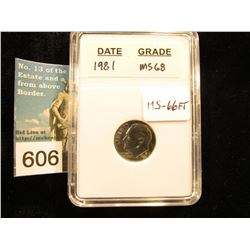 "1981 P Roosevelt Dime In 2"" x 3"" plastic case.  Downgraded from MS-68.    MS-66"