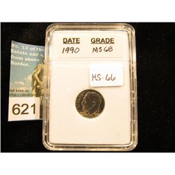 "1990 P Roosevelt Dime In 2"" x 3"" plastic case. Downgraded from MS-68    MS-66"