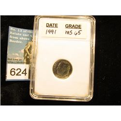 "1991 P Roosevelt Dime In 2"" x 3"" plastic case.  MS-65"