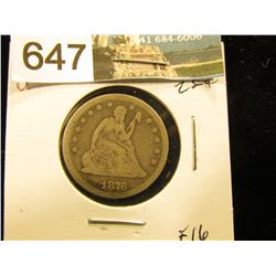 1876 P Liberty Seated Quarter F-16