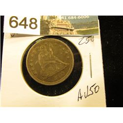 1877 S Liberty Seated Quarter AU-50