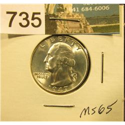 1947 S Washington Quarter MS-65