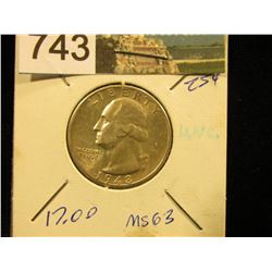 1948 S Washington Quarter MS-63