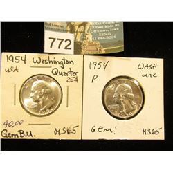 (2) 1954 P Washington Quarter MS-65