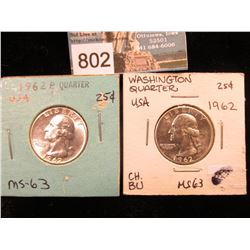 (2) 1962 P Washington Quarter MS-63