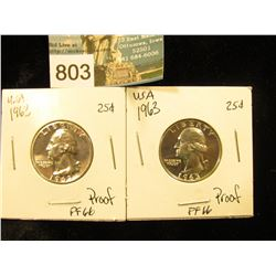 (2) 1963 P Washington Quarter PF-66