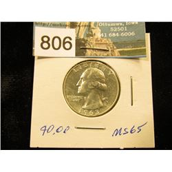 1963 D Washington Quarter MS-65