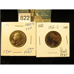 (2) 1968 S Washington Quarter PF-67