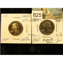 (2) 1969 S Washington Quarter PF-65 & 67